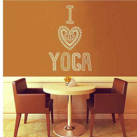 """I Love Yoga"" Decals Vinyl Wall Sticker-Sunetra"