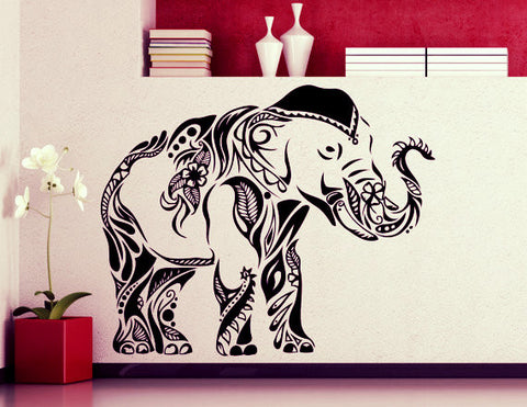 Mehndi Style Elephant Wall Sticker ~ Waterproof Wall Mural-Sunetra