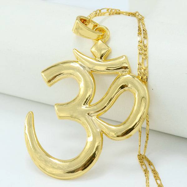Yoga Necklace Pendant ~OM Hindu ~22k Gold Plated Metal Chain-Sunetra