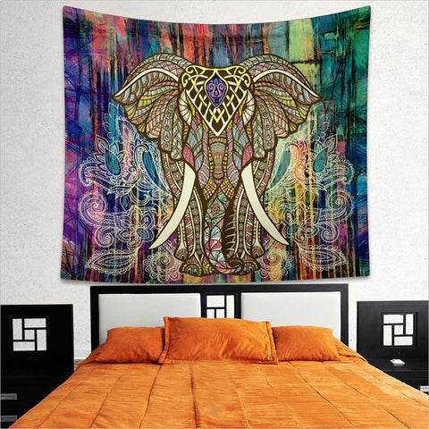 Indian Elephant Mandala Tapestry Hippie ~Tapestries Beach Throw Towel Yoga Mat ~ 150*130cm Blue-Sunetra