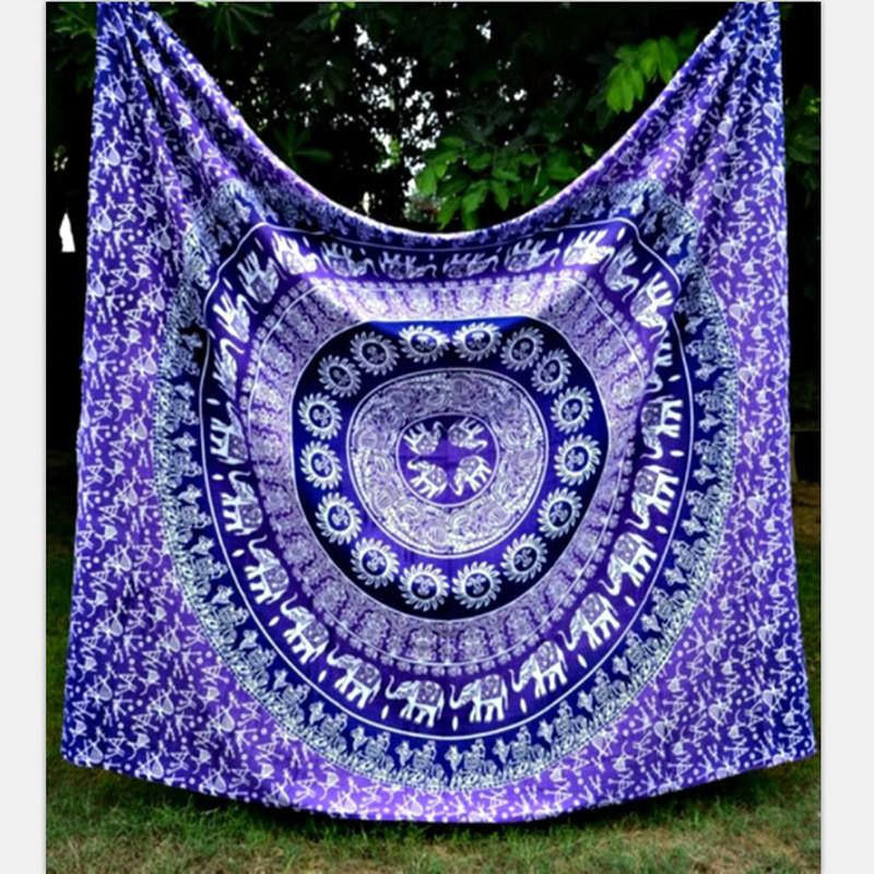 Indian Elephant Mandala Tapestry Hippie ~Tapestries Beach Throw Towel Yoga Mat ~ 150*130cm Buff-Sunetra