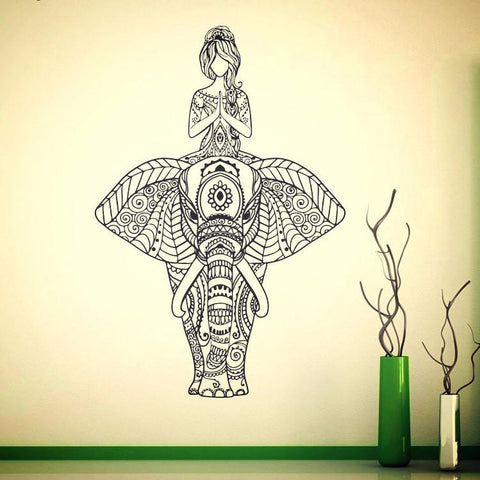 Indian Elephant Wall Decal Vinyl Sticker ~ Yoga Wall Mural 57 x 84 cm-Sunetra