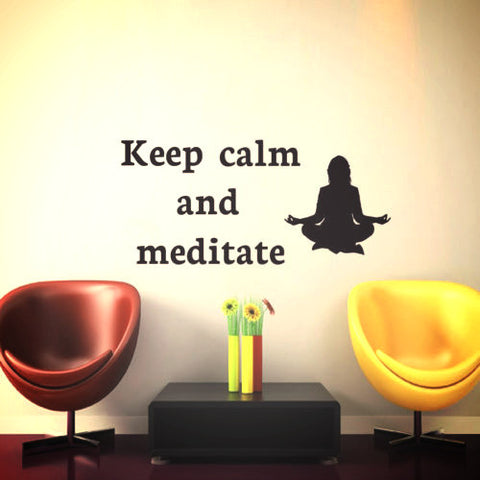"""Keep Calm Meditate"" Wall Sticker Decor ~Yoga Wall Mural Decoration-Sunetra"