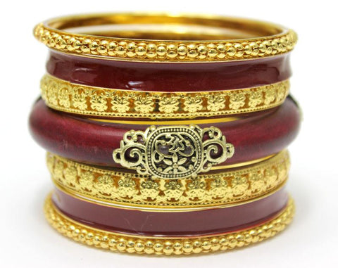 LADYMEE Bracelets for Women Indian Jewelry 18K Gold Plated Bangles Vintage Wooden Luxury Metal Bracelet Femme Jonc Pulseiras red-Sunetra