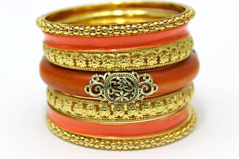 LADYMEE Bracelets for Women Indian Jewelry 18K Gold Plated Bangles Vintage Wooden Luxury Metal Bracelet Femme Jonc Pulseiras orange-Sunetra