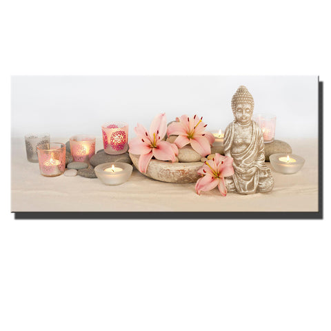 Led lighted up canvas print Buddha ~ orchid flicking candles picture Wall ART hanging
