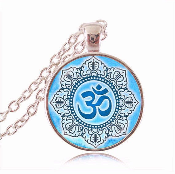 Lotus necklace charm ~om pendant~mandala necklaces