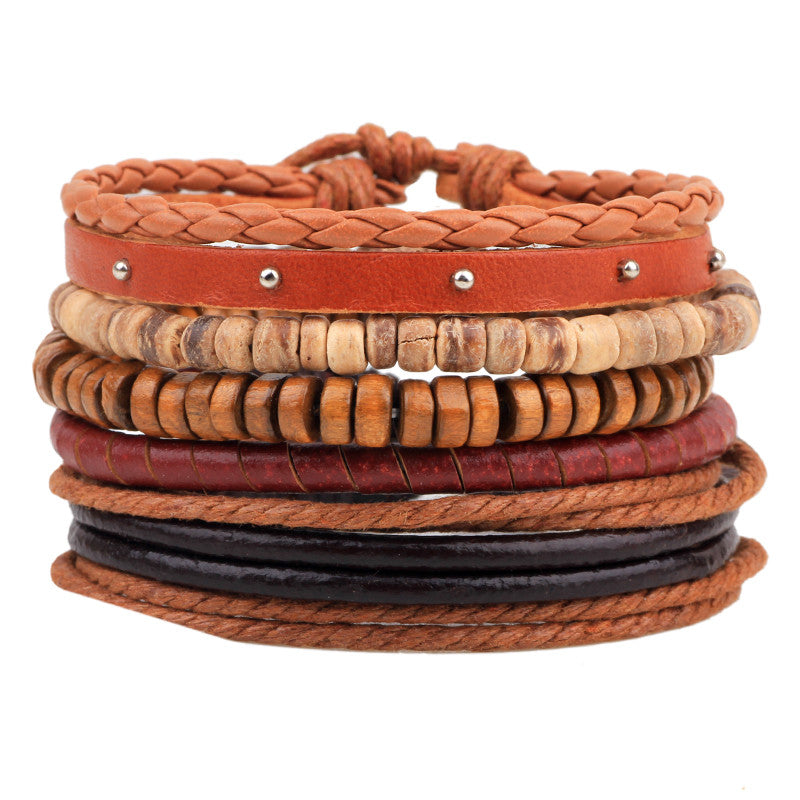 MJARTORIA 1Set 4PCs Punk Vintage Multilayer Leather Bracelets For Women Men Jewelry Bohemian Braided Beads Bangles Adjustable UP14534-Sunetra