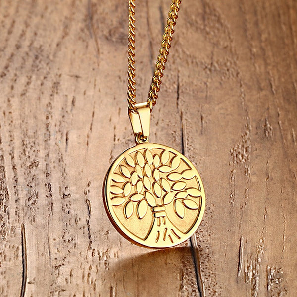 Men / Woman's Jewelry Gold Tone Chain Necklace Tree of Life Pendant with 24 inch-Sunetra