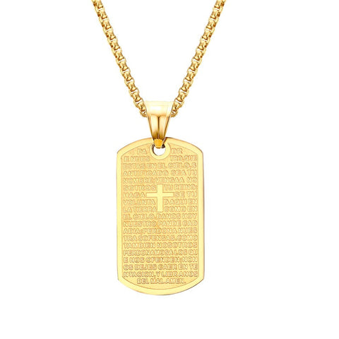 Stainless Steel and Yellow Gold Plated ~Pendant Bible Lord's Prayer Cross Choker Necklace Jewelry 24inch PN603-Sunetra