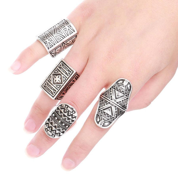 Bohemia Vintage Jewelry Unique Carving Tibetan Silver Plated Ring ~Set for Woman 4PCS/Set-Sunetra