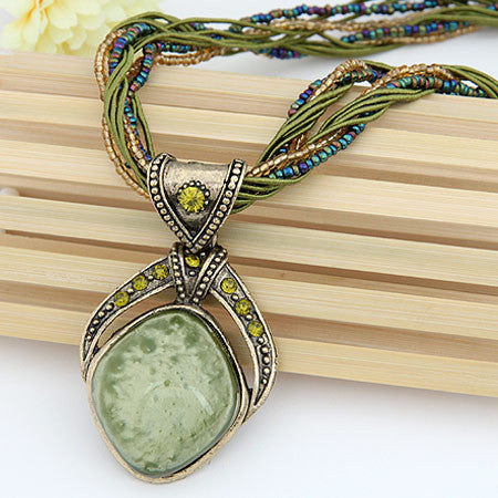 New 2016 Vintage Bohemian Imitation Gemstone Jewelry Handmade Beads Chain Statement Necklaces Pendants for Women Accessories Green-Sunetra