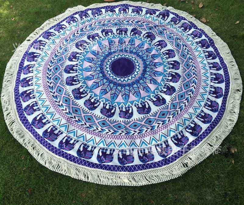 Large Cotton Blend Printed Round Beach Towel ~Tassel Circle Beach Towel Serviette Tapestry Wall Hanging G-Sunetra