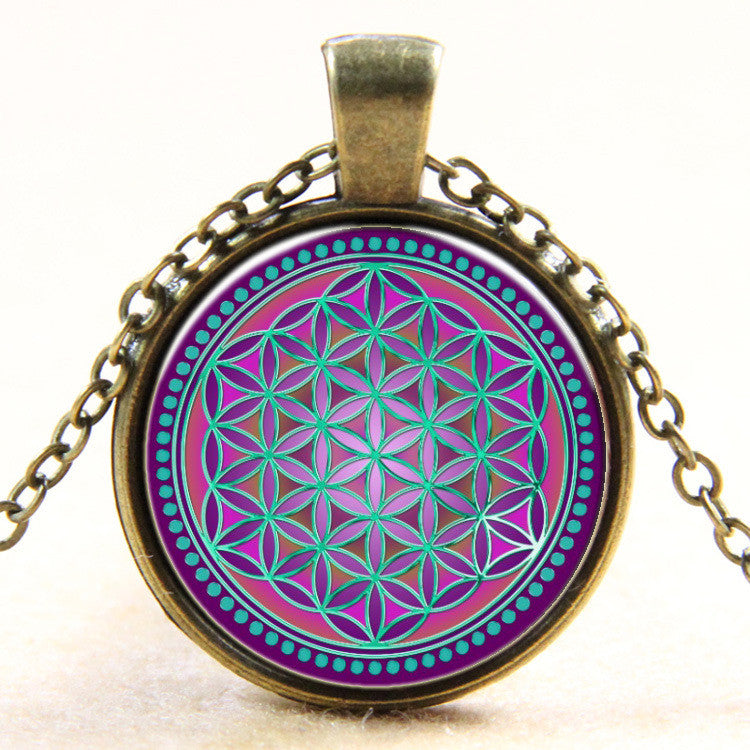 New Fashion Colorful Flower Of Life Logo Pendant Necklace Bronze chain vintage choker statement Necklace women Jewelry 2016 Antique Bronze Plated-Sunetra