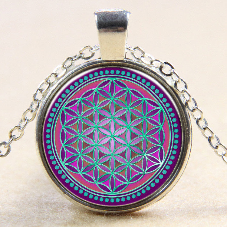 New Fashion Colorful Flower Of Life Logo Pendant Necklace Bronze chain vintage choker statement Necklace women Jewelry 2016 Silver Plated-Sunetra