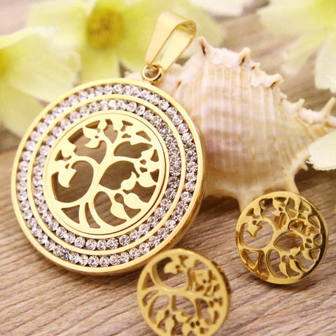 Stainless Steel Jewelry gold and silver color Pendants ~ Tree of Life-Sunetra