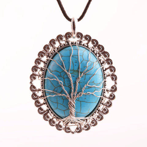 Oval Pendant Turquoise ~Tree Of Life Necklace Big Handmade Turquoise Jewelry-Sunetra