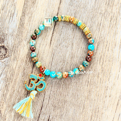 Stretch Bracelet Natural Jasper with Tibetan OM Charm and Tassel Elastic Bracelet Natural Stones Beaded Mala Bracelet Blue-Sunetra