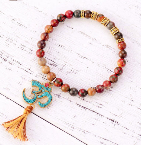 New Stretch Bracelet ~Jasper with Tibetan OM Charm ~Tassel Elastic Bracelet Natural Stones Beaded Mala-Sunetra