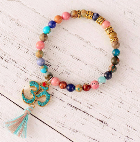 New Stretch Bracelet ~Jasper with Tibetan OM Charm ~Tassel Elastic Bracelet Natural Stones Beaded Mala  Colorful-Sunetra