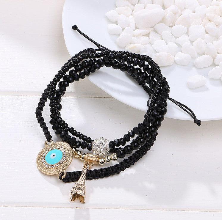 New Summer Style Fashion Ethnic Friendship Bracelet Cahrm Tower Pendant Colorful Beads Bracelets Jewelry For Women  black-Sunetra