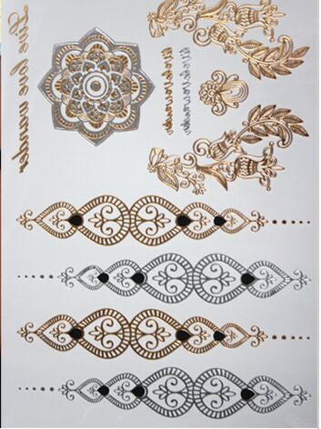 Temporary tattoo gold  flash tattoo metallic tattoo waterproof non-toxic temporary tattoos stickers-Sunetra