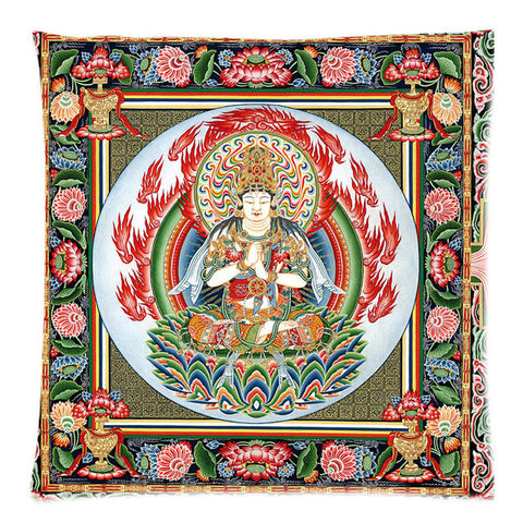 "Mandala &Tibet Thangka Pattern Two Side Printing Cotton Linen Pillow Cover 17.7""X17.7"""