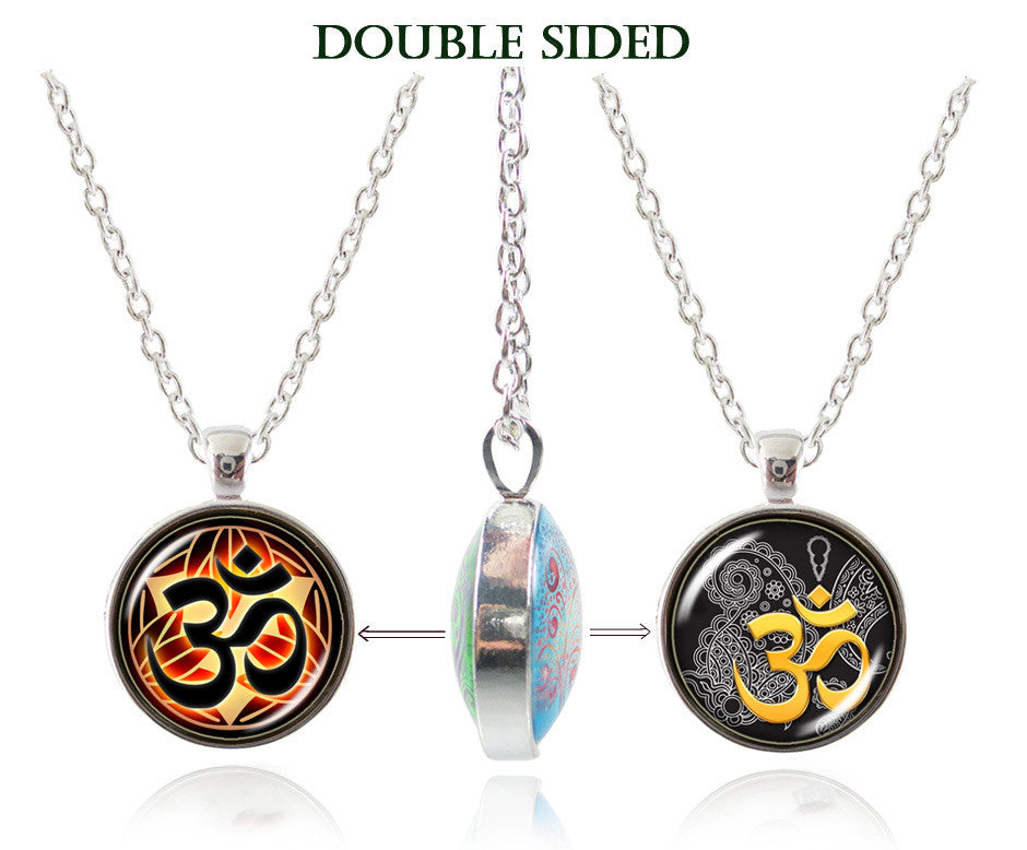 Om Necklace Yoga Jewelry Glass Dome Double Sided Pendant Namaste Neckless Lotus Henna Flower Zen Jewellery Meditation Choker 8-Sunetra