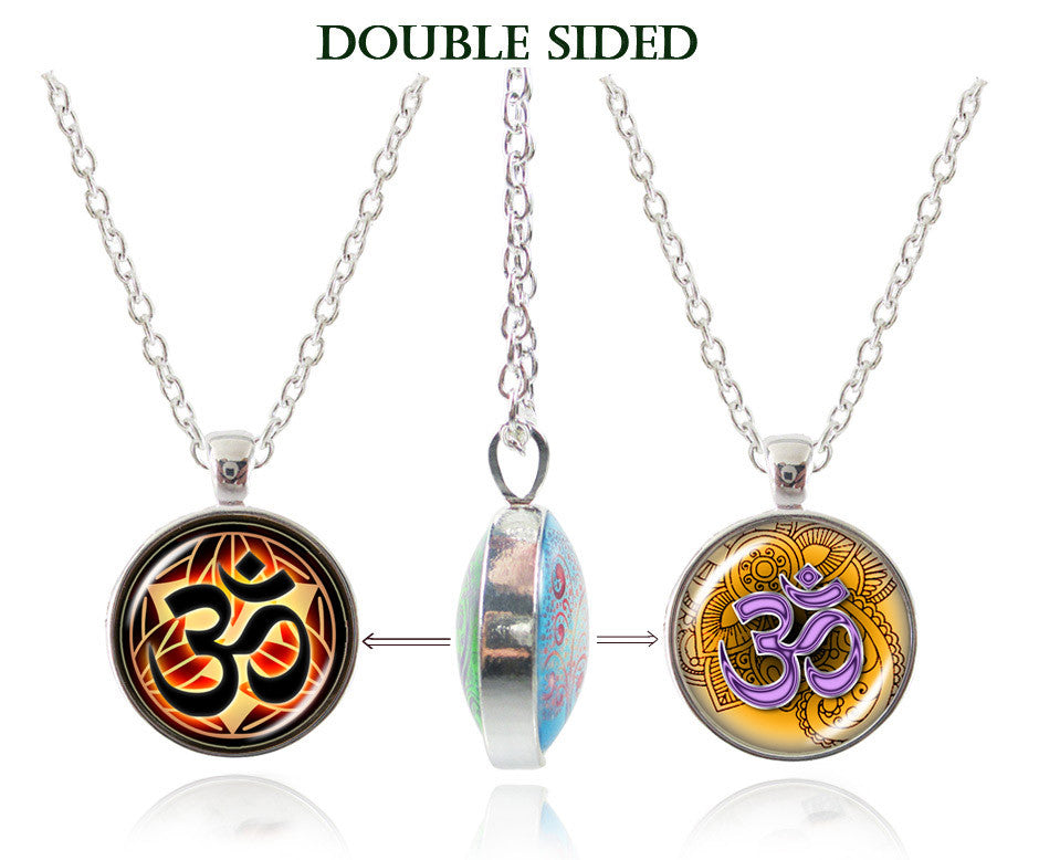 Om Necklace Yoga Jewelry Glass Dome Double Sided Pendant Namaste Neckless Lotus Henna Flower Zen Jewellery Meditation Choker 7-Sunetra