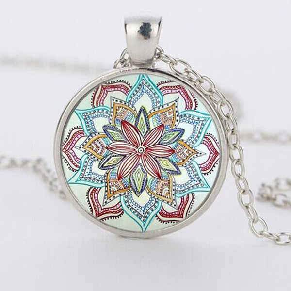 Om Symbol Buddhism Zen Gem Dome Glass Rhinestone Necklaces Jewelry Mandala Flower Pendant & Necklace Henna Yaga Necklace-Sunetra