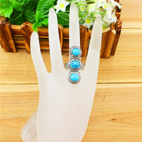 Three Oval Turquoise Rings Vintage ~ Tibetan Alloy Antique Silver Plated Jewelry-Sunetra