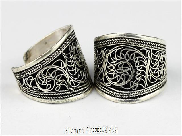 Traditional Tibetan silver man rings ~ Nepal antiqued vintage flower silk open ring ~1 pc-Sunetra