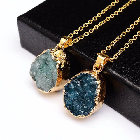 Druzy Quartz Natural Stone ~ Irregular Geode Amethyst ~ 18K Gold Plated Raw Stone Pendant  Gold blue-Sunetra