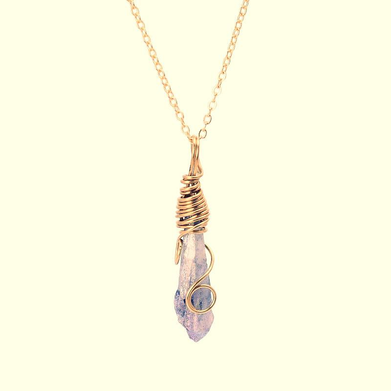 Handmade Wrapped Raw Natural Stone ~Pendant Amethyst Pink Quartz Dursy Crystal Necklaces 1-Sunetra