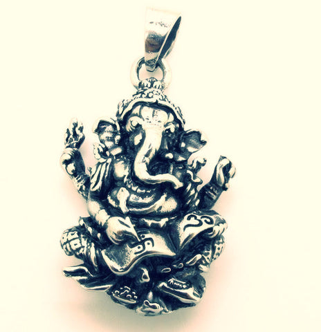 Stainless Steel ~ New Crystal Inlay Elephant Ganesh Pendant ~-Sunetra