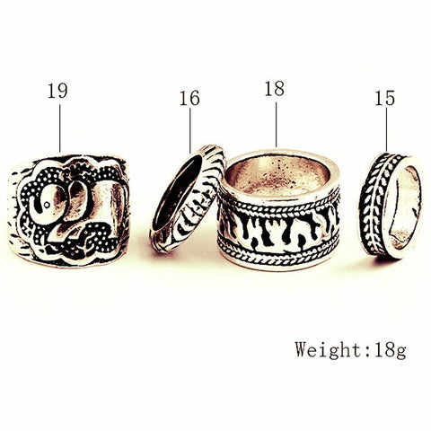 Set/4 Vintage Silver Plated Lucky Elephant Rings for Women Punk Carved Bohemian Boho Jewelry Totem Bague Femme Anel Masculino-Sunetra