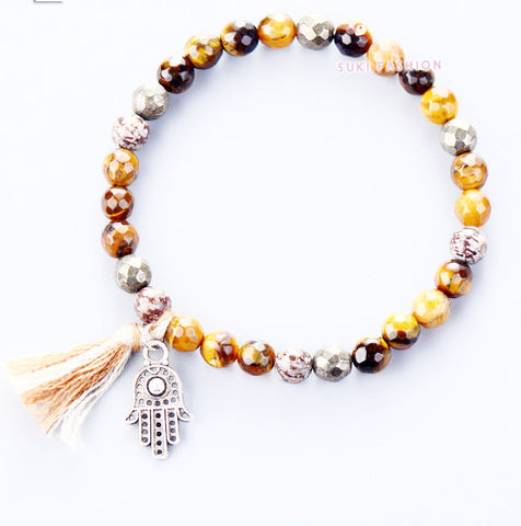 Strethy Bracelet Boho Natural Stones with Pyrite and Tassel Stretch Bracelets Handmade Elastic Mala Bead Bracelet Yoga Bracelet Tiger Eye-Sunetra