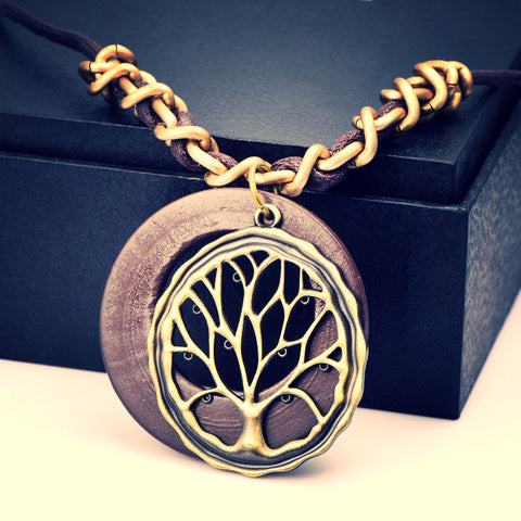 The tree of life pendant ~ long leather rope necklace of ancient bronze pendant-Sunetra