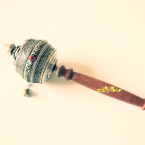Tibet special silver wood handle zhuangjingtong prayer wheel ~six mantra of pure manual ~-Sunetra