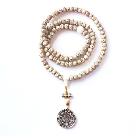 108 Mala ~ Bodhi Seed Beads Necklace ~OM