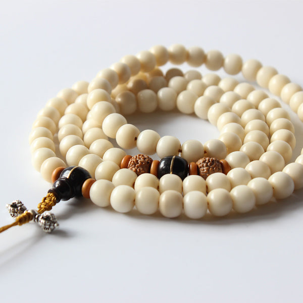Tibetan Buddhism 108mala Beads Ivory White Natural Tagua Nut Beaded Necklace With S925 Silver Antique Pendant Unisex OM Jewelry