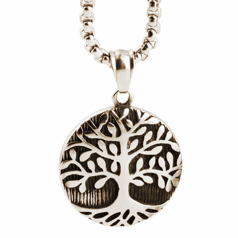 Tree Of Life Round ~316L Stainless Steel Pendant Necklace-Sunetra