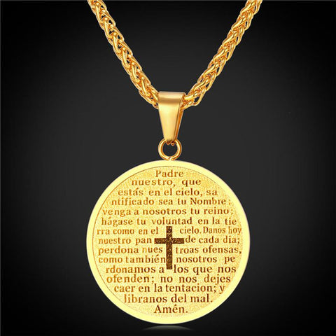 Cross Bible Necklaces & Pendants Yellow Gold Plated ~Stainless Steel  18K Gold Plated-Sunetra