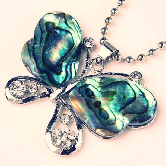 Silver Plated Exquisite Shiny Abalone Shell Butterfly ~ Round Shape Pendant Charm Jewelry-Sunetra