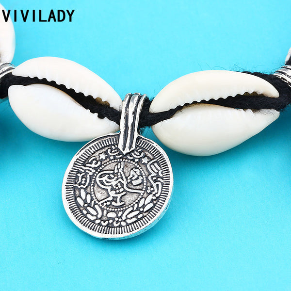 Vintage Tibetan Silver Plated Statement Handmade Shell Coin Charms Bracelet Women Bohemia Weave Rope Jewelry Gifts-Sunetra