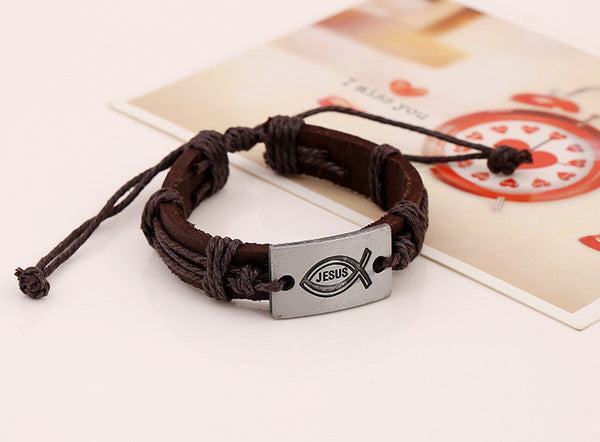Vintage Genuine Leather Jesus ~Fish Bracelet Christian Bracelets Ichthys Christian Prayer Cuff Bracelet-Sunetra