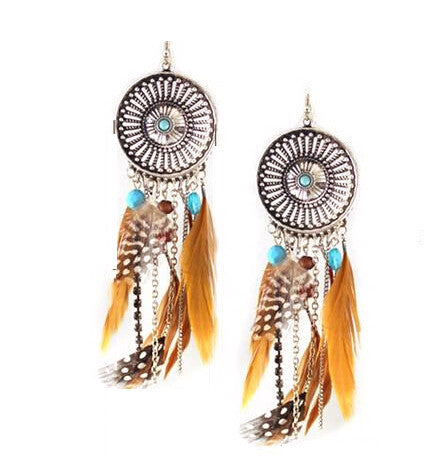 Vintage Hollow Fringed Feathers Long Earring For Women 2016 Fashion Jewelry India Bohemian Ear rings Earing-Sunetra