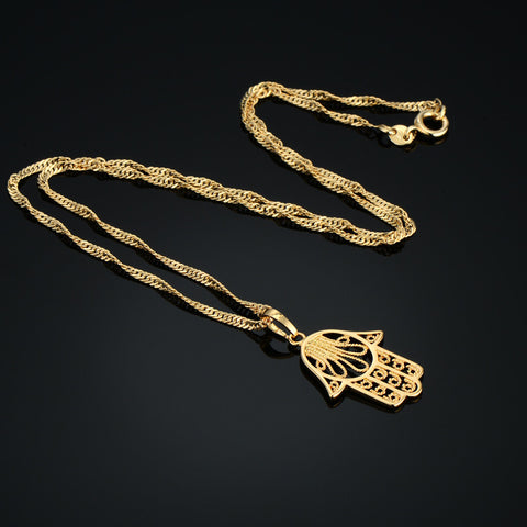 Vintage Mini Hand of Fatima Pendance ~18K Real Gold Plated Unisex Necklace-Sunetra