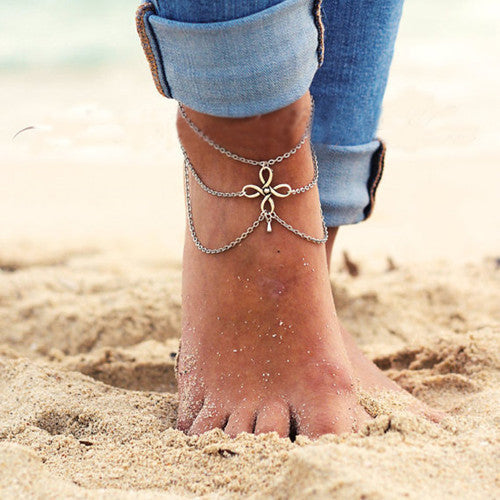Vintage Silver Ankle Bracelet Foot Jewelry Turquoise Barefoot Sandals Anklets for Women Tornozeleira Chaine Cheville Bijoux 2016 Clover 1-Sunetra