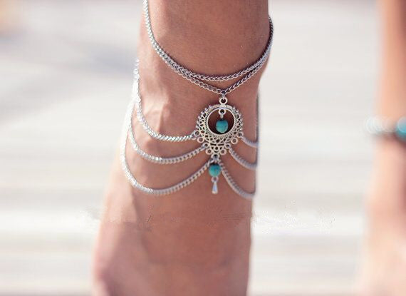 Vintage Silver Ankle Bracelet Foot Jewelry Turquoise Barefoot Sandals Anklets for Women Tornozeleira Chaine Cheville Bijoux 2016 Droplet wtih Stone-Sunetra